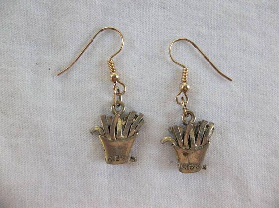 Silver French Fries Drop Earrings