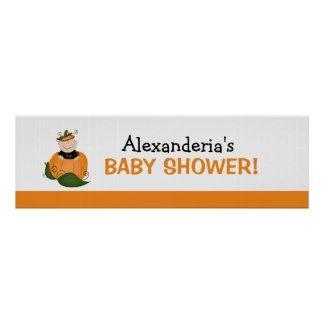 Lil Pumpkin Baby Shower Banner Poster Print