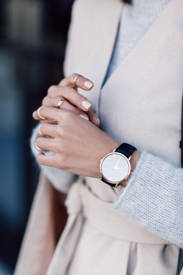 Minimal Nail Art Design, Manicure, Pastel Blush Pink | Rose Gold Watch, Grey Sweater Outfit |
