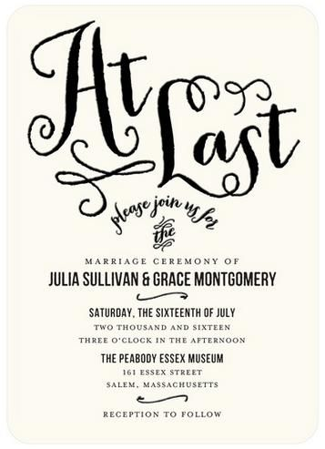 Calligraphy fonts are trendy and express a whimsical flair to your wedding invitation suite.
