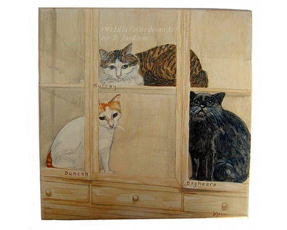 Custom Pet Portrait Watercolor Cat Kitten Canvas Art Multi