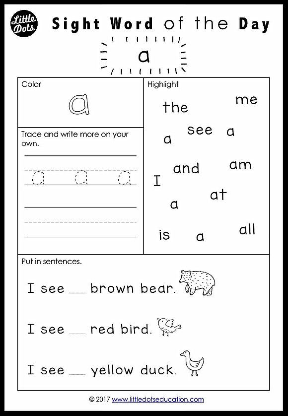 Free PreK Dolch Sight Words Worksheets Set 1 Sight word