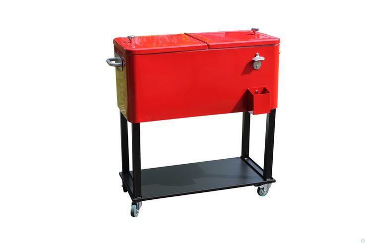 Leco Retro koelbox rood 39x79x84 cm