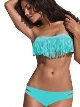 2013 Top Popular Sexy Women Bikini Swimwear Swimsuit Halter Padded 2 pieces With Bangs And Strings Adjustment Light Blue - Size M US6-8 Cups...