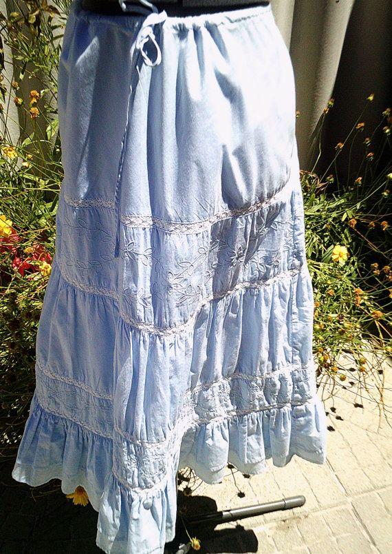 azul pradaria saia azul cigano saia boêmio por Fashionwithness