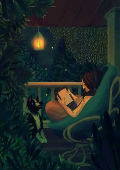 Reading on the porch at night illustration