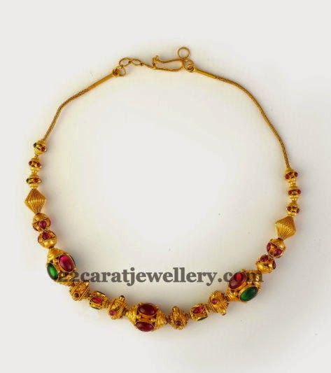 Jewellery Designs: Gemstones Fusion Work Kids Choker