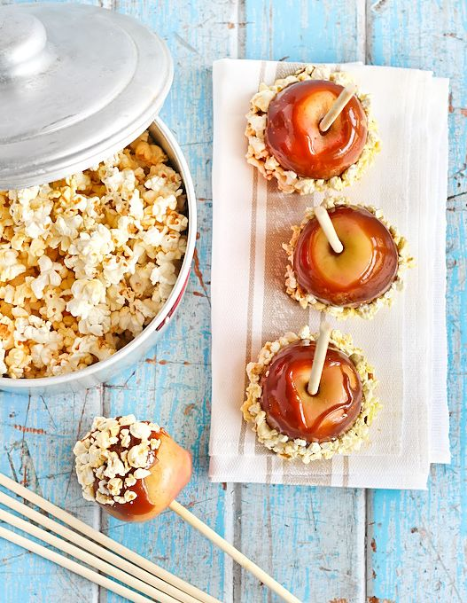 Salted caramel apples + popcorn!