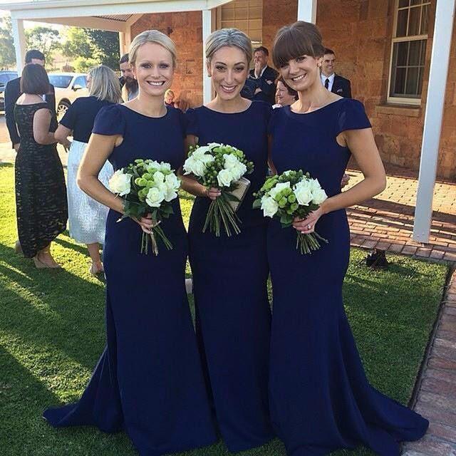 Formal Mermaid Dark Navy Blue Bridesmaid Dresses Long Women Simple Bridesmaid Gowns Sleeves Satin Elegant Bridesmaid Dress B40