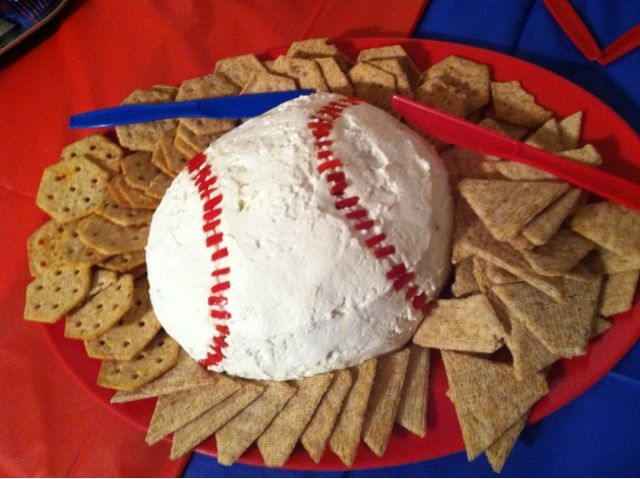 baseball theme veggie tray | And a baseball cheeseball :) this weeks theme for my photo challenge ...