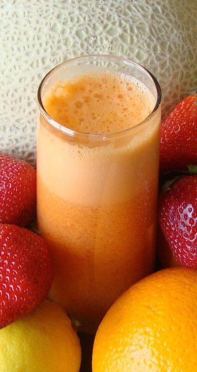 Immunity Booster + Protein  Juice Recipe:  8 strawberries  4 carrots  1/4 cantaloupe  1/2 watermelon  1 knob of ginger   3 oranges  1 lemon