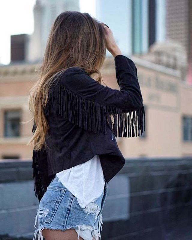 fringed suede