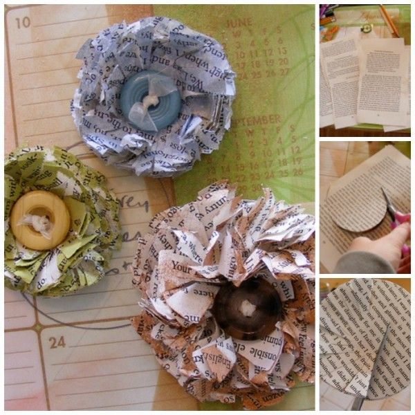 Upcycled Paper Flowers - save left over paper, old books or magazine and turn them into these pretty flowers!