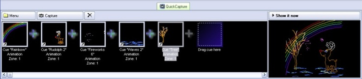 captures the currently playing output -- whatever is being shown on the laser -- into a single cue. For example, you might combine a couple of graphics elements (each in their own cue) with some text.     Simply click the QuickCapture tab and the laser output is captured into a blank cue.   Pangolin Laser Systems