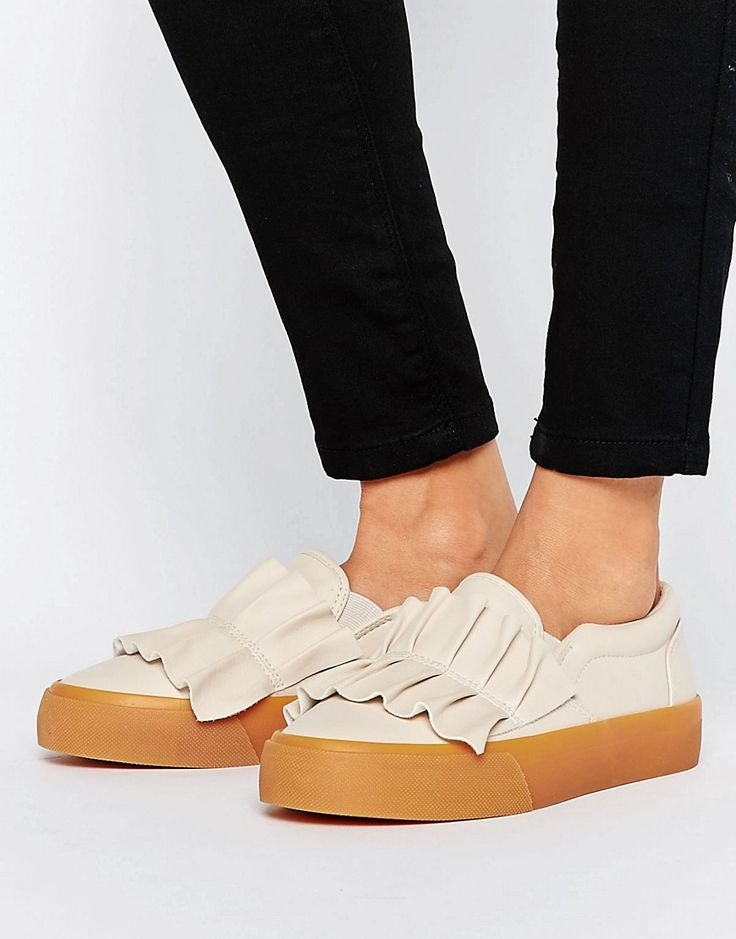 Buy it now. ASOS DIDSBURY Ruffle Trainers - Beige. Trainers by ASOS Collection, Faux-leather upper, Slip-on design, Ruffle detail, Padded for comfort, Chunky sole, Moulded tread, Wipe with a damp cloth, 100% Other Materials Upper. ABOUT ASOS COLLECTION Score a wardrobe win no matter the dress code with our ASOS Collection own-label collection. From polished prom to the after party, our London-based design team scour the globe to nail your new-season fashion goals with need-right-now dresses…