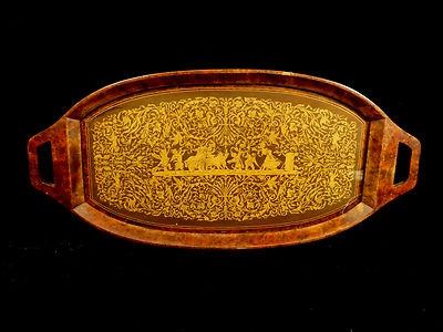 VINTAGE INTRICATE INLAID BURL WOOD TEA SERVING TRAY  Added to Your favorites.   Share with friends1: Teas Serving, Woods Teas, Teas Dreams, Teas House