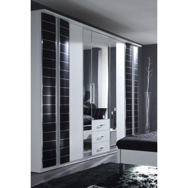 Great Kleiderschrank Schrank mit Spiegel und Schubk sten wei schwarz Neu