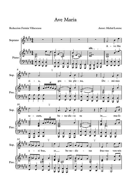Ave Maria by Michal Lorenc - Sheet Music This is one of the most beautiful versions of Ave Maria that I have heard