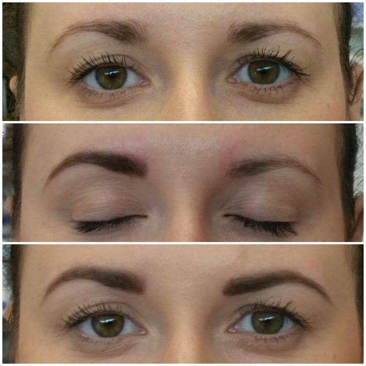 Obočko pred jemnou úpravou pinzetou a nalíčené gosh brow kitom Eyebrow makeup