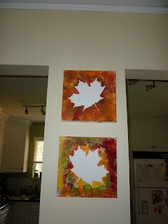 Fall art canvas paintings with acrylic paint.