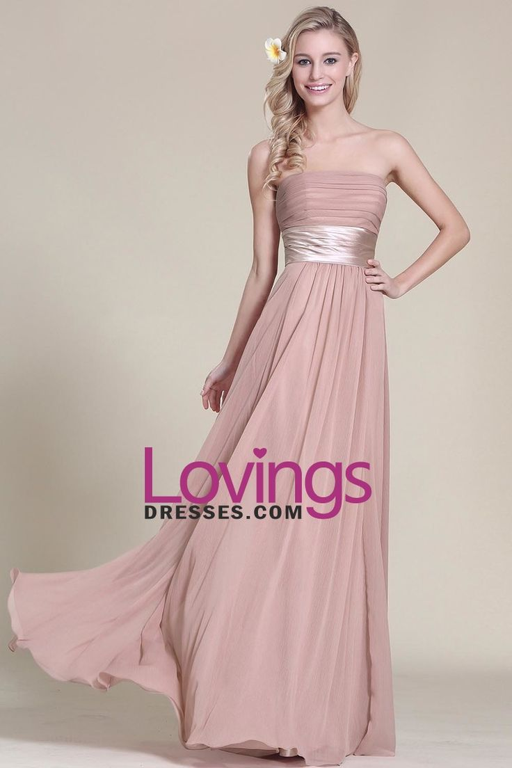 2016 Bridesmaid Dresses Strapless A Line Chiffon With Ruffles And Sash Floor Length US$ 119.99 LDPARMMY97 - lovingsdresses.com for mobile