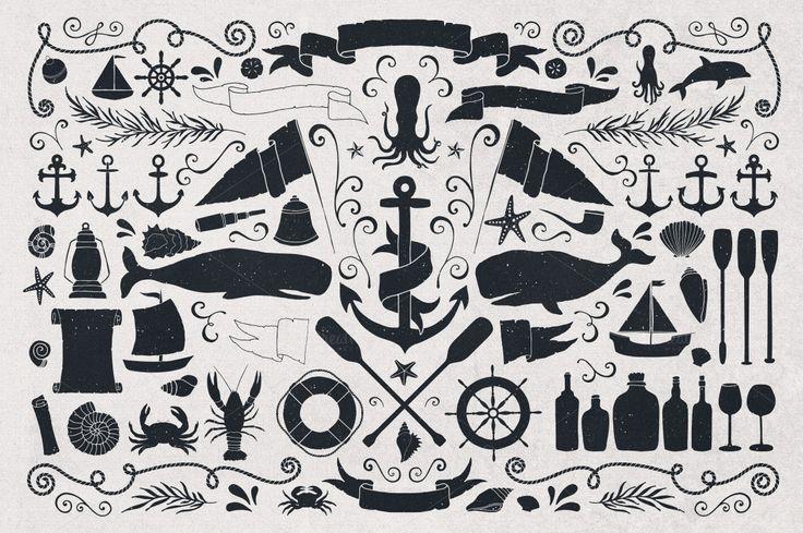 Seaworthy Typeface & Nautical Pack Huge design, Creative