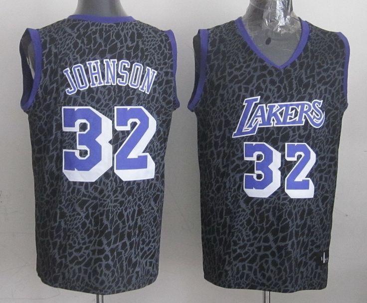 Men's NBA LA Lakers #32 Johnson Crazy Light Swingman Black Jersey
