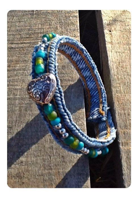 Recycled Denim Bracelet Eco friendly denim with by TwoSisters2Sis, $3.95