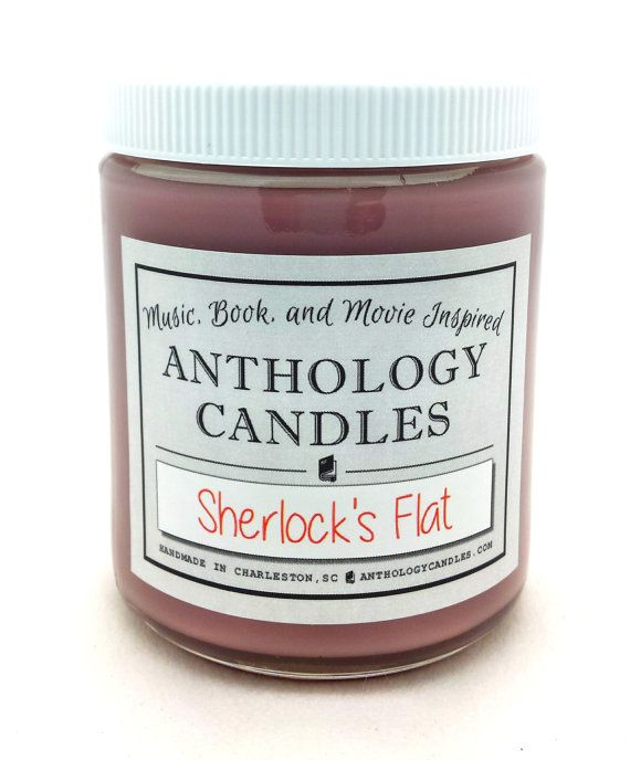 Our Sherlock Holmes candle smells just like 221-B Baker Street: Sweet and smooth tobacco from Sherlocks pipe, leather-bound books and leather