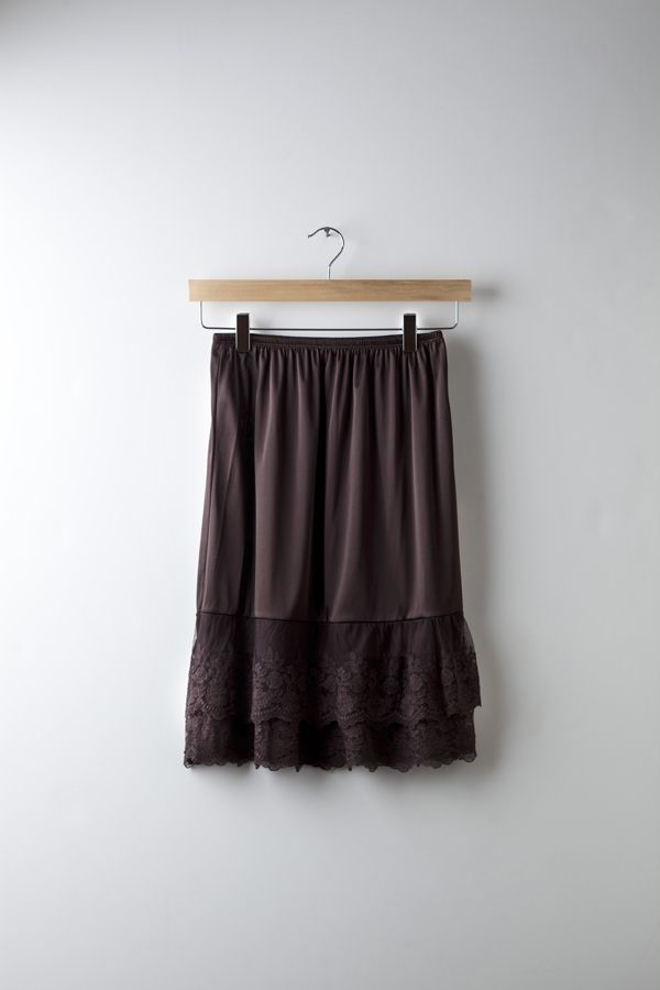 Versatile multi-use, lace slip skirt can be worn under your dresses or skirts as a length extender for a unique layered look, a full, flowing strapless top with jeans or shorts, or it stands on its own as a chic slip skirt.