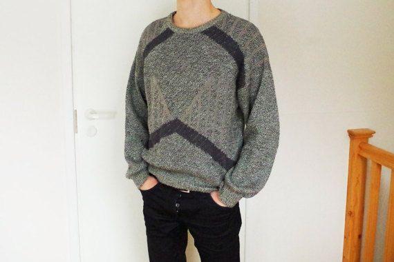 Retro vintage Soviet era men's grey jumper cardigan sweater sweatshirt jersey pullover chunky knit oversized knitted woven handmade wool
