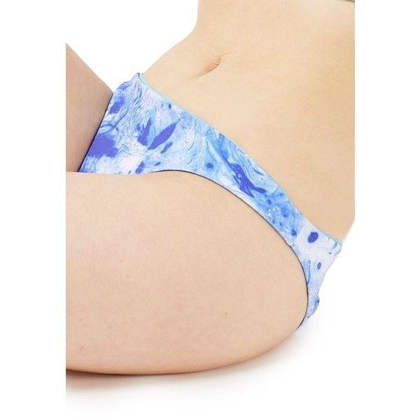 Women's Topshop Marble Print Reversible Bikini Bottoms ($26) ❤ liked on Polyvore featuring swimwear, bikinis, bikini bottoms, blue multi, topshop swimwear, reversible swimwear, reversible bikinis, topshop bikini and blue bikini bottoms