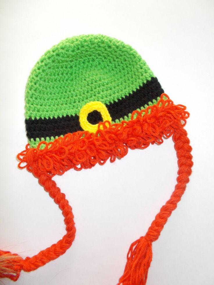 St Patrick's day hat, Leprechaun hat, crochet hat, wig hat, photo prop, costume, Custom order size - pinned by pin4etsy.com