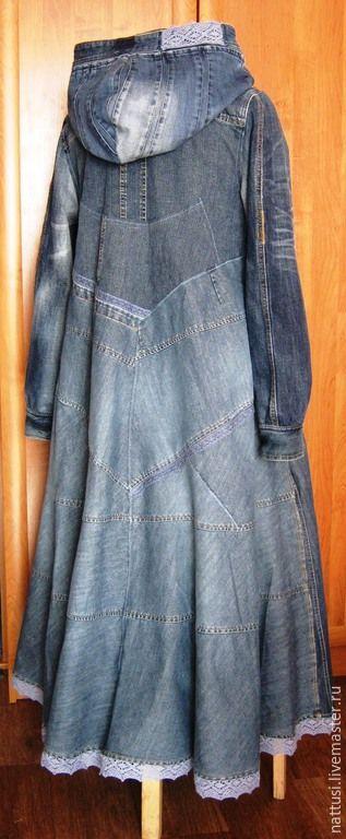 """Купить Бохо-плащ джинсовый """"Констанция"""" - синий, кастомайзинг, бохо-стиль, плащ, плащ женский"""