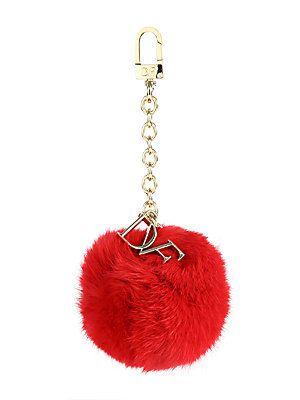 Cute Christmas gift idea: Diane von Furstenberg Rabbit Fur Pom-Pom Keychain. #holidays #love