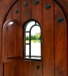 round top exterior doors with distressed knotty alder wood radius arch top exterior door oversized speakeasy and wrought iron grill and clavos & 17 best SPEAKEASY DOOR images on Pinterest | Speakeasy door ...