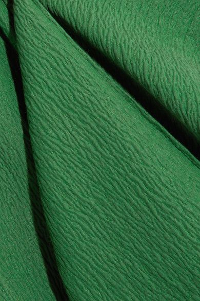 Green cloqué Concealed zip fastening along back 63% viscose, 17% silk, 16% cotton, 4% polyamide Dry clean Made in England