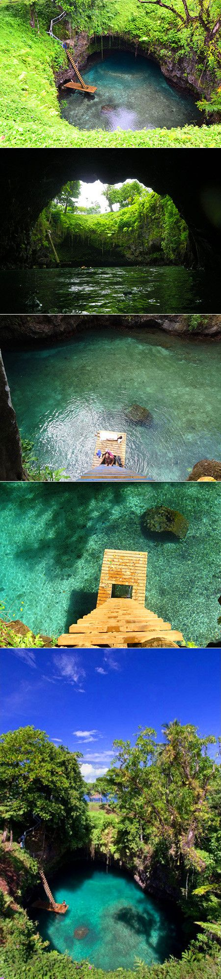 Located in the village of Lotofaga (population: 1,089) on the south coast of Upolu island in Samoa, is the To Sua Ocean Trench. An all-natural swimming hole with a large ladder and small dock, visitors can pay a fee ($15 for adults, $6 for children 7-15, free for kids under 7) to access the 30 meter (98 ft) deep hole. The island of Upolu was formed by a massive basaltic shield volcano.