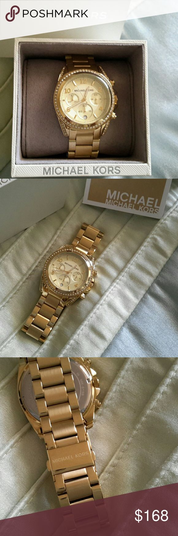 Michael Kors Blair Watch Gold tone with light golden face surrounded by crystals. New in box, no extra links because the bracelet is huge. Michael Kors Accessories Watches