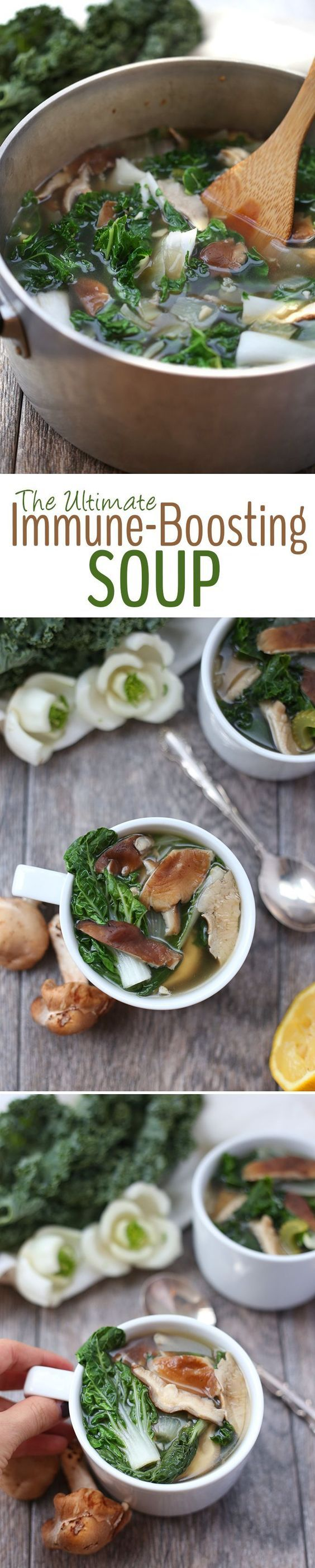 Feeling under the weather? Kick that cold or flu to the curb with the ultimate immune-boosting soup. Packed full of vitamins and minerals from delicious ingredients like turmeric, kale and bok choy in a mushroom broth for a healthy vegetarian soup recipe.