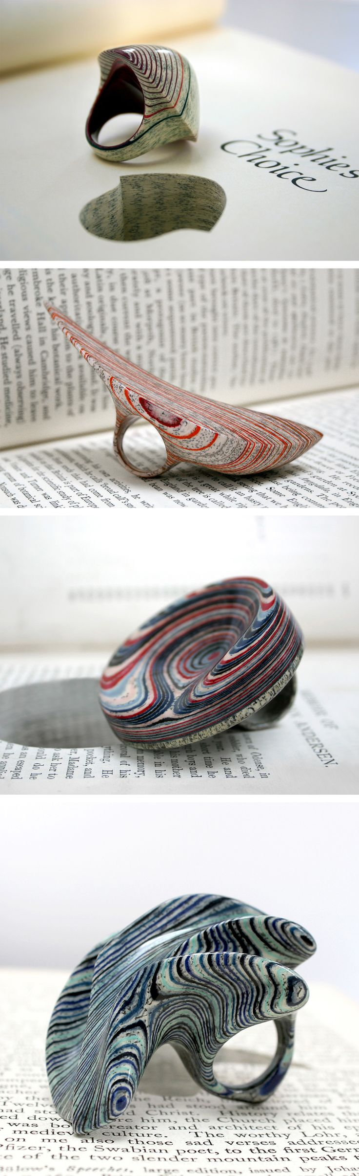 Laminated Jewelry Crafted from Vintage Books by Jeremy May
