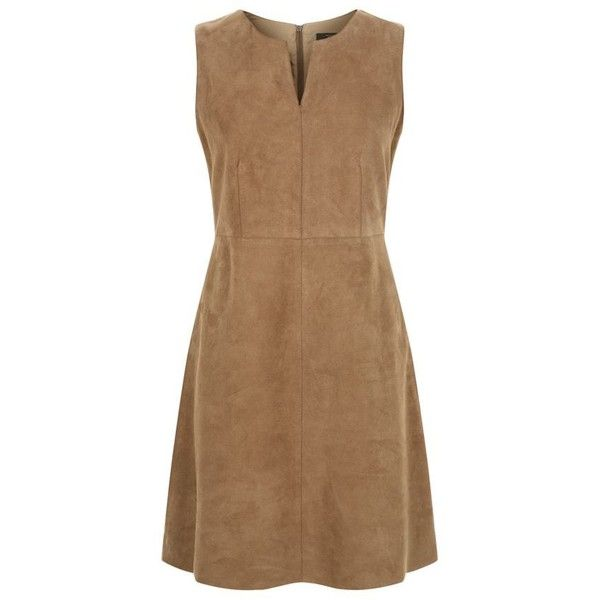 MaxMara Weekend Lente Suede Shift Dress ($440) ❤ liked on Polyvore featuring dresses, brown dresses, shift dress, panel dresses, a line shift dress and exposed zipper dress
