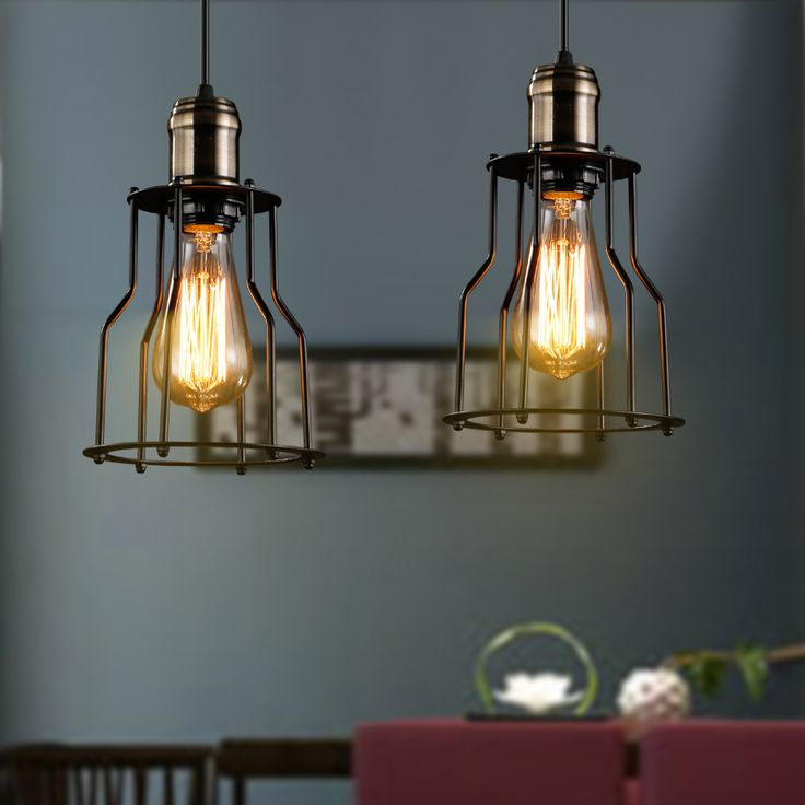 Vintage Iron Pendant Light Industrial Black Lamps For Kitchen Bar Metal Cage Hanging Lamp Fixture Luminuare Lights