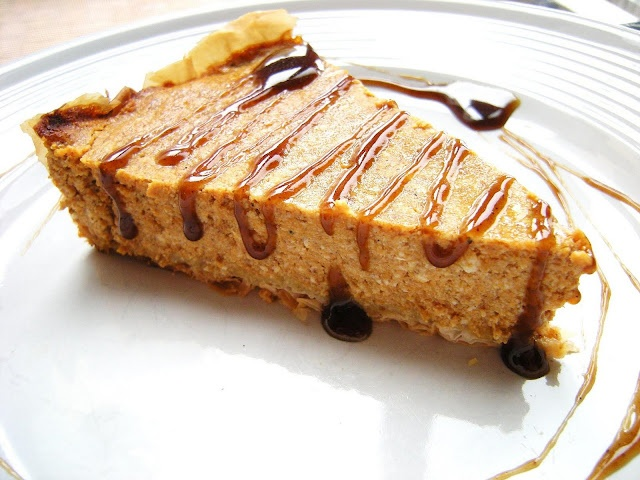 Pumpkin Cheesecake and Cinnamon Caramel Sauce