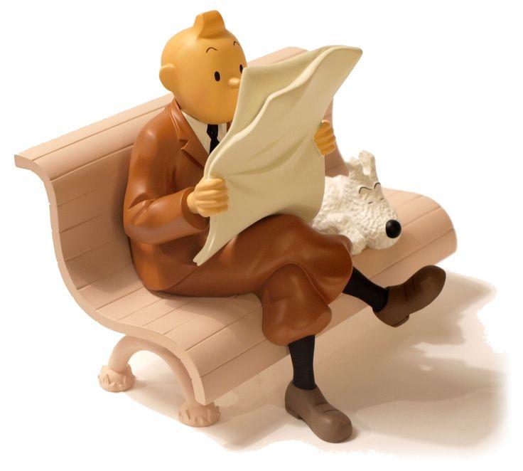 TINTIN - SUR LE BANC - 15 cm resin statue (second hand), moulinsart (tintin), moul45917*