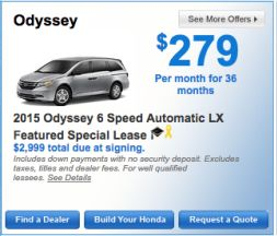 2015 Honda Odyssey 6 Speed Automatic LX Special Lease