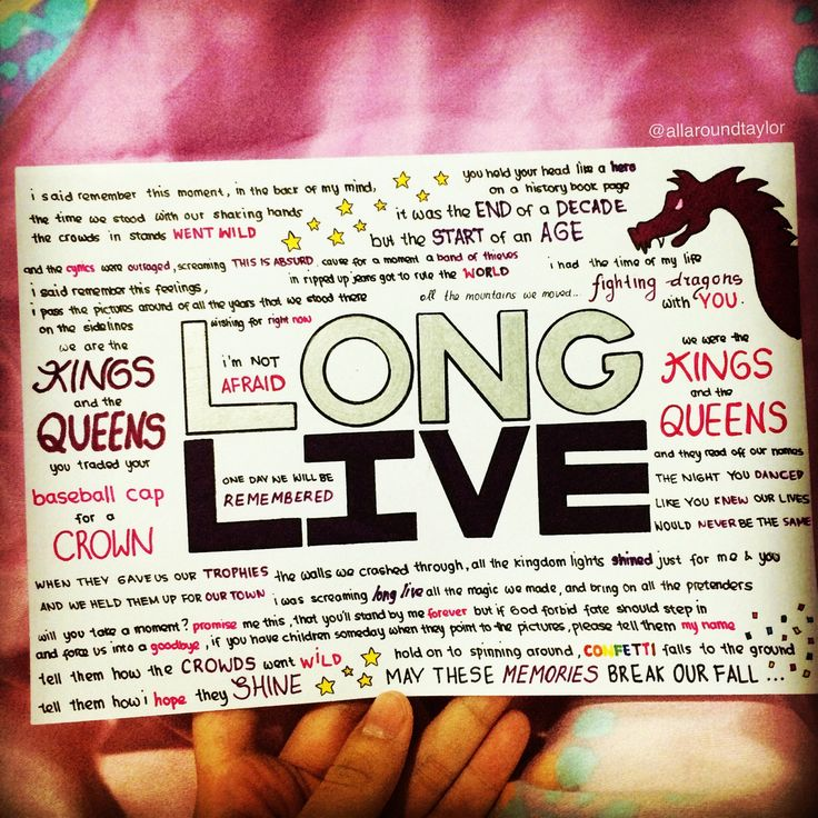 Long Live by Taylor Swift lyrics, hand drawn by http://allaroundtaylor.tumblr.com/.