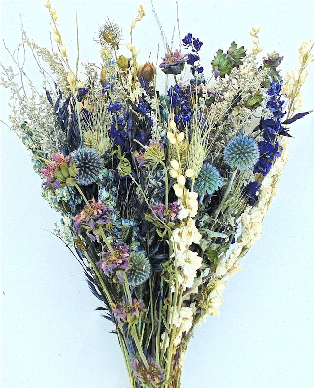 Dried Flower Bouquet - Blue Bunch.  Echinops (Globe Thistle), Lemon Mink, Blue and White Larkspur, Artemisia, Green Wheat