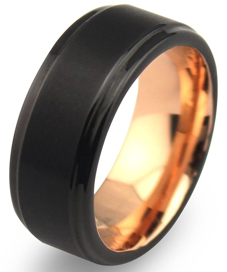 EZreal 8mm Black Tungsten Carbide Mens Wedding Bands with Matte Center and Comfort Fit Rose Gold Plated Interior, Rose Gold Engagement Rings for Women Promise Rings for Her Unique Wedding Rings *** To view further, visit now : Gift for Guys