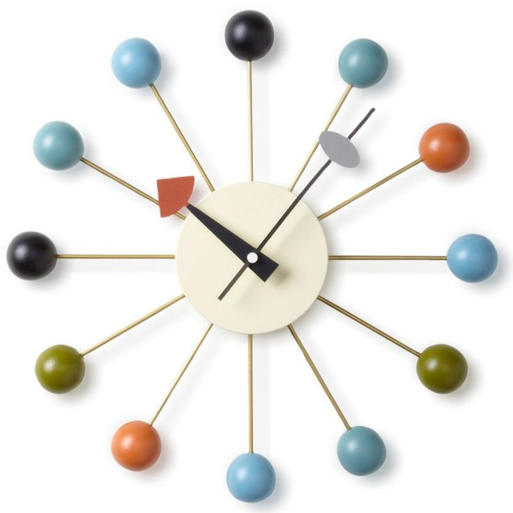 $240 George Nelson ATOMIC BALL Wall Clock Free US Ship OFFICIAL Wood Zinc  NEW #GeorgeNelsonReproductionOfficial